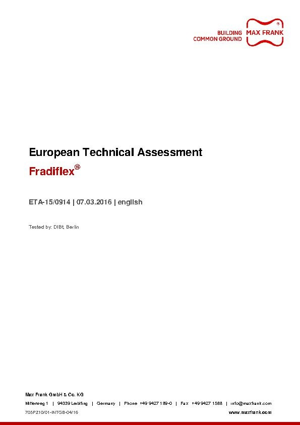 Fradiflex® & Stremaflex - European Technical Assessment (ETA)