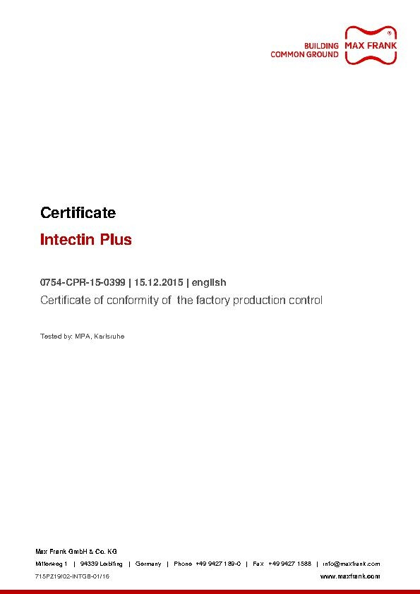 Intectin Plus - Résine d'injection - Certificat de conformité (anglais)