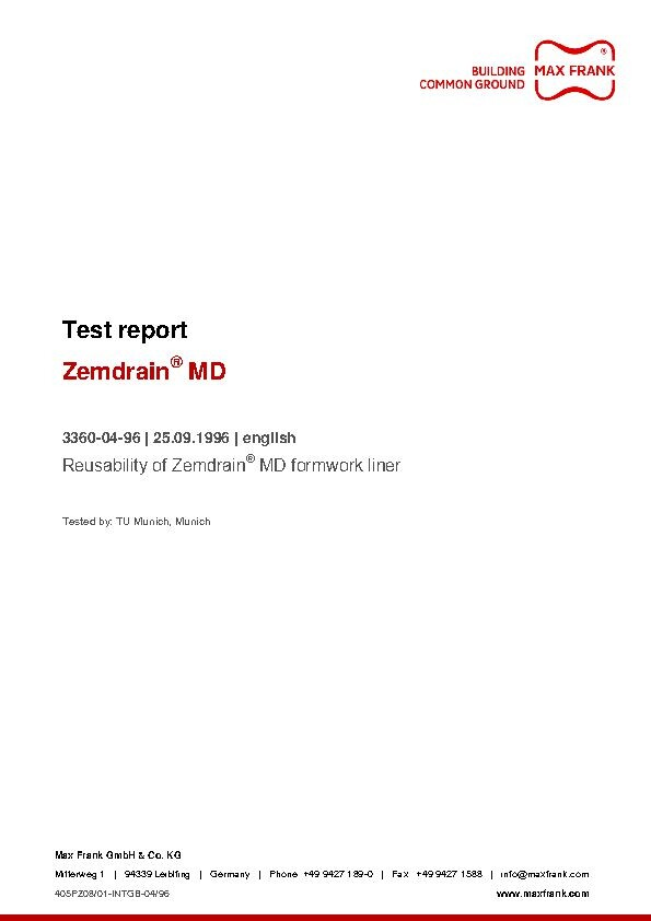 CPF liner Zemdrain® MD reusability
