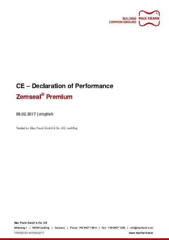 Sub-structure waterproofing system Zemseal® Premium declaration of performance
