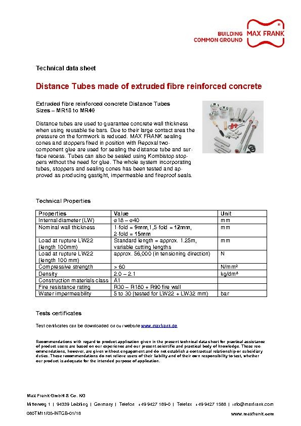 Distance Tubes made of extruded fibre reinforced concrete