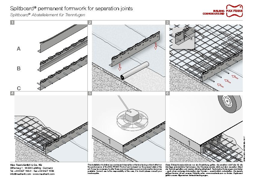 Formwork elements for armoured separation joints  Splitboard®