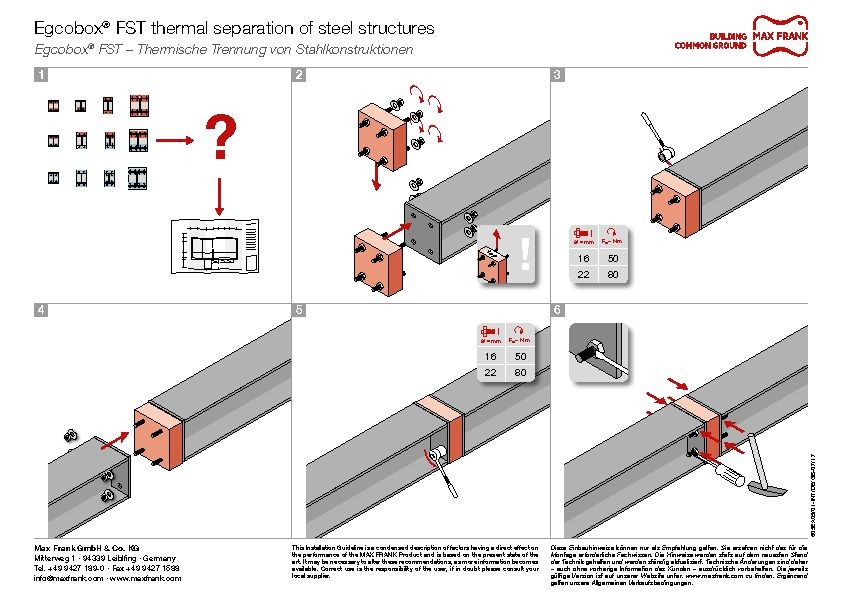 Thermal separation of steel structures Egcobox® FST