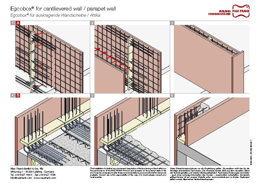 Cantilever connection system Egcobox® for cantilevered wall / parapet wall