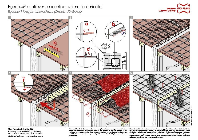 Cantilever connection system Egcobox® insitu/insitu