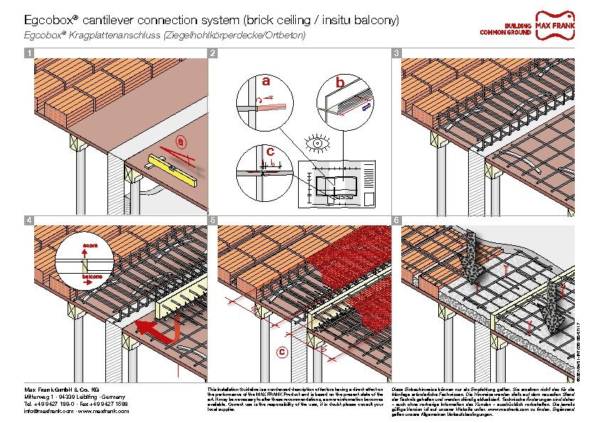 Cantilever connection system Egcobox® brick ceiling/insitu balcony
