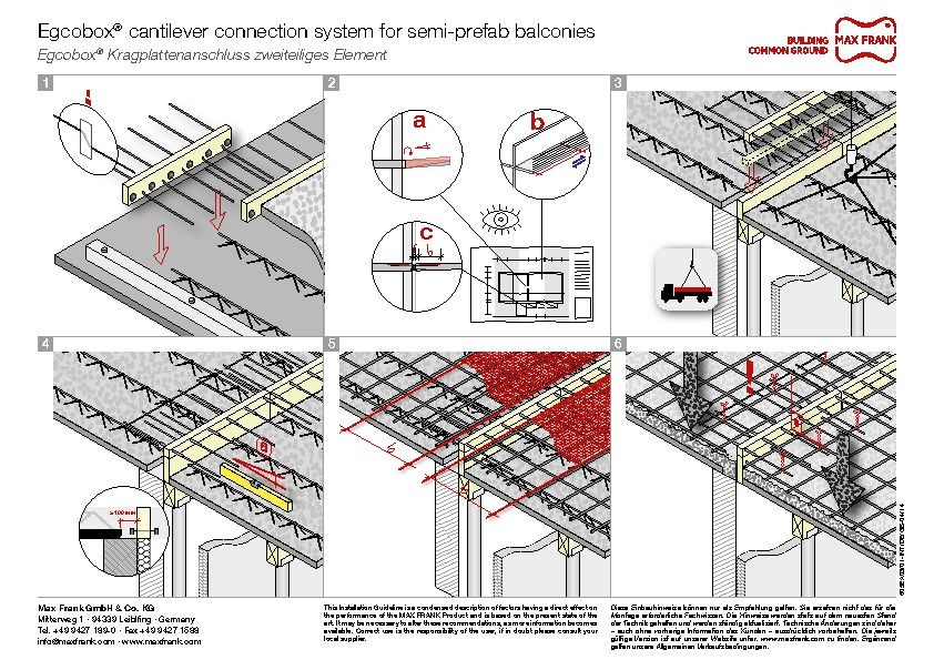 Cantilever connection system Egcobox® for semi-prefab balconies