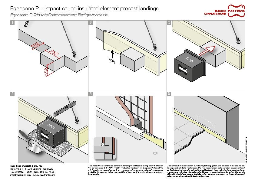 Impact sound insulated element Egcosono P – precast landings