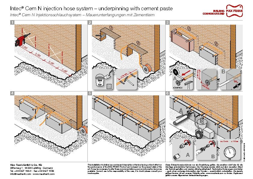 Injection hose system Intec® Cem N – underpinning with cement paste