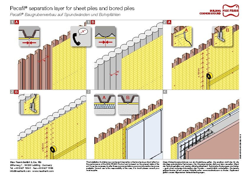 Permanent formwork Pecafil® foundation separation formwork for sheet pilings and bored piles