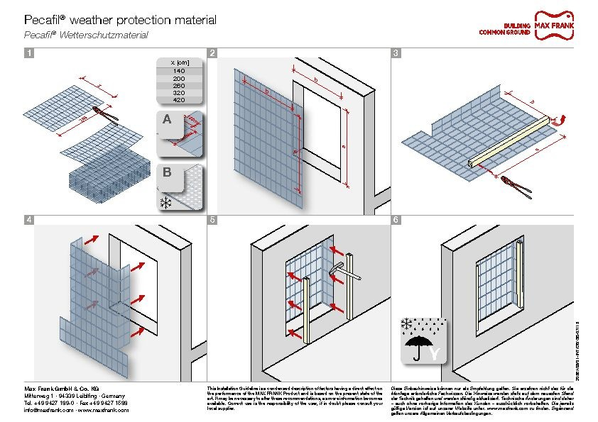 Permanent formwork Pecafil® weather protection screen
