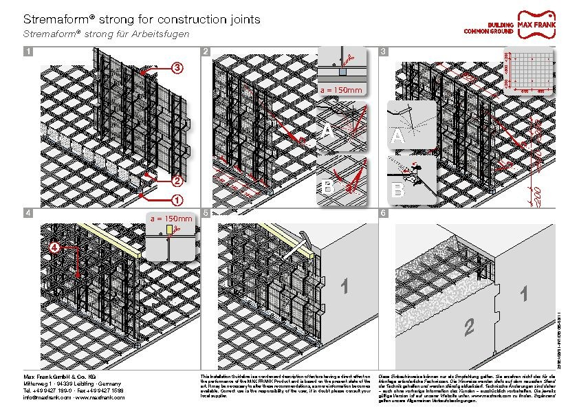 Formwork element for working joints Stremaform® strong
