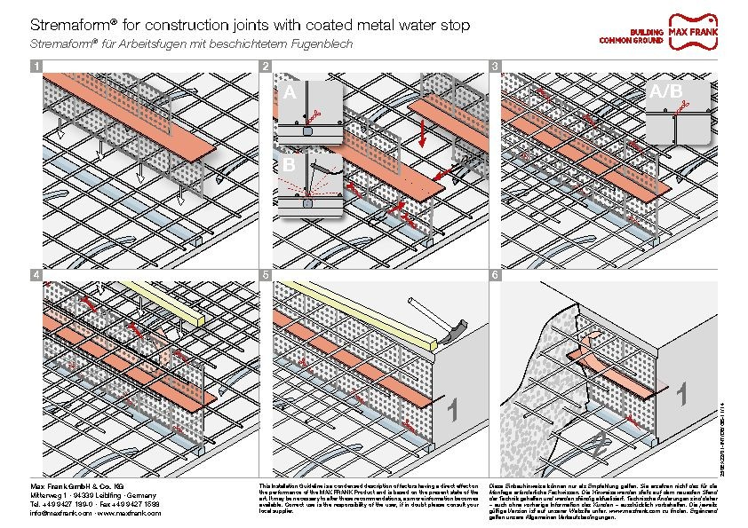 Formwork element for working joints Stremaform® with coated metal waterstop