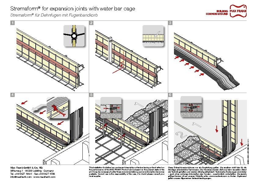 Formwork element for expansion joints Stremaform® with water bar cage