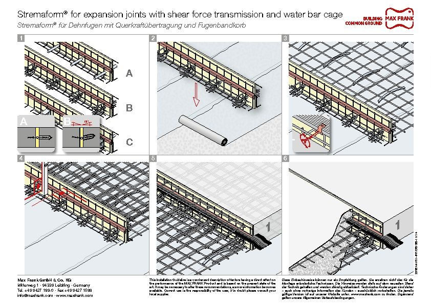 Formwork element for expansion joints Stremaform® with shear force transmission and water bar cage