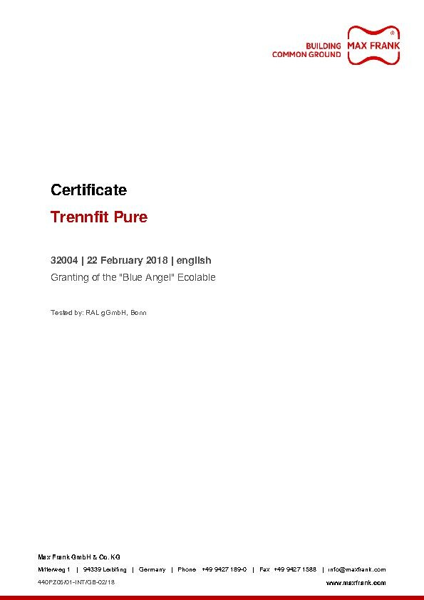 "Release agent Trennfit Pure Certificate ""Blue Angel"" Ecolabel"