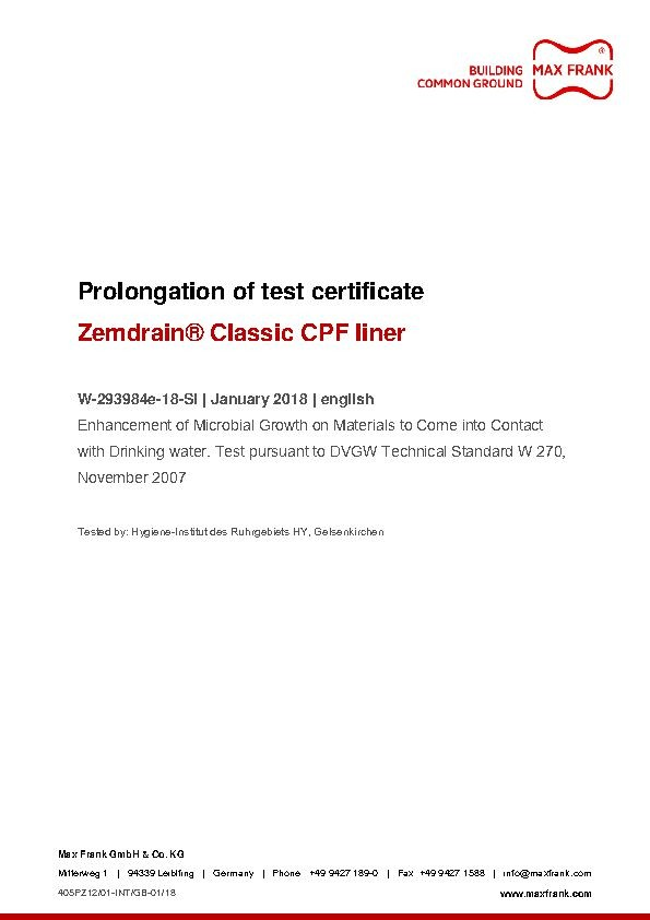 CPF liner Zemdrain Classic Enhancement of microbial growth in drinking water