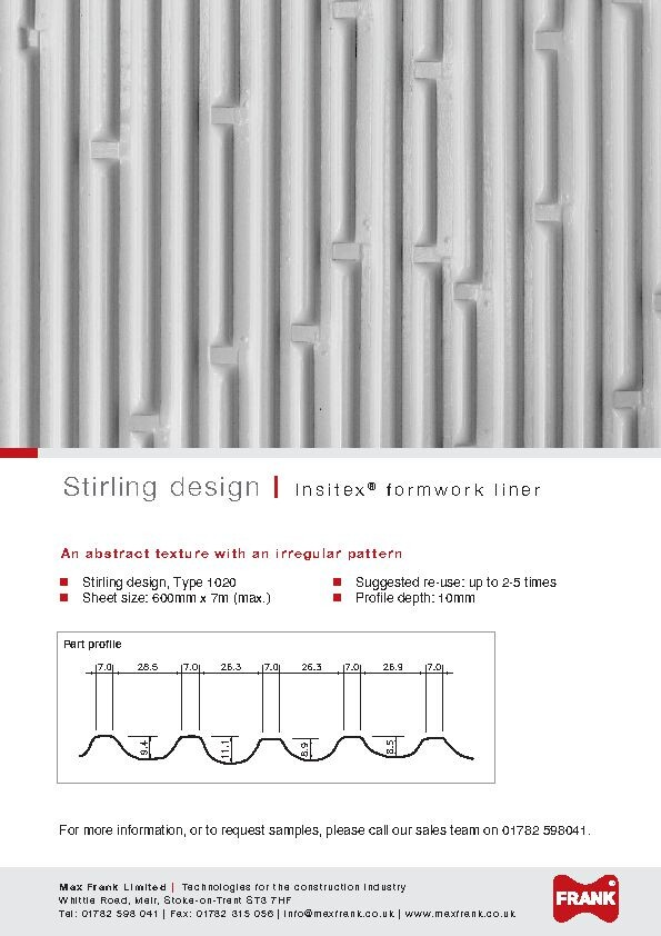 Patterned PVC formwork liners Insitex® liners abstract